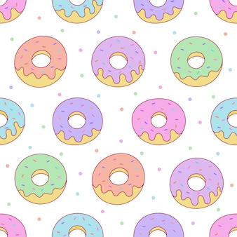 Kawaii donuts seamless pattern for cafe or restaurant.
