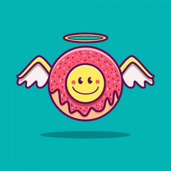 Kawaii doodle cartoon angel donut  illustration