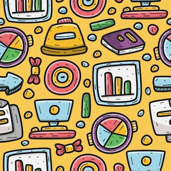Kawaii doodle cartoon business pattern design template