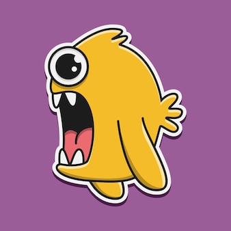 귀여운 낙서 만화 캐릭터 괴물 디자인 일러스트 레이션