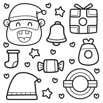 Каваи каракули мультфильм рождественский дизайн иллюстрация
