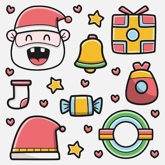 Kawaii doodle cartoon christmas design illustration