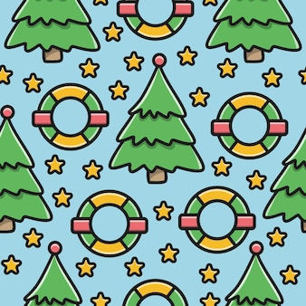 Kawaii doodle cartoon christmas pattern design
