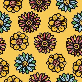 Каваи каракули мультфильм цветочный узор шаблон