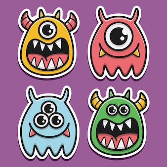 Kawaii doodle cartoon halloween sticker design illustration
