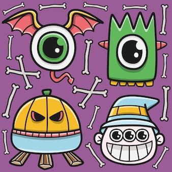 Kawaii doodle cartoon halloween sticker design illustration