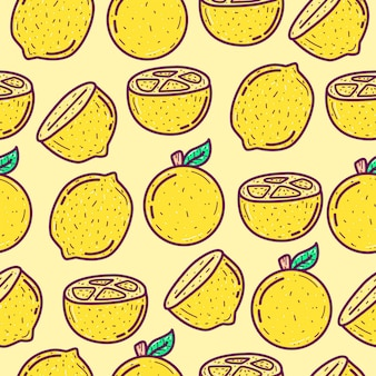 Kawaii  doodle cartoon lemon fruit pattern illustration