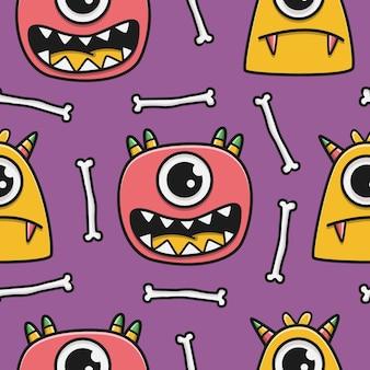 귀여운 낙서 만화 괴물 패턴