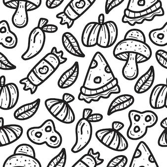 かわいい落書き漫画ピザパターンデザインイラスト
