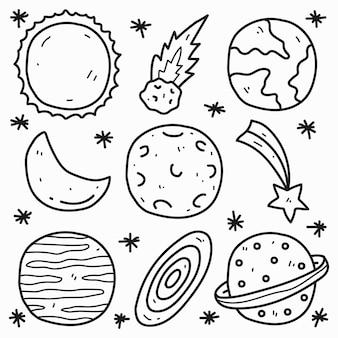 귀여운 낙서 만화 행성 색칠 디자인