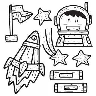 Kawaii doodle cartoon space design template