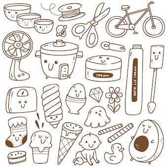 Kawaii doodle collection line art, suitable for coloring