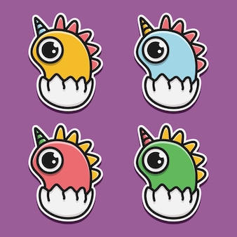 Kawaii doodle monster cartoon  illustration