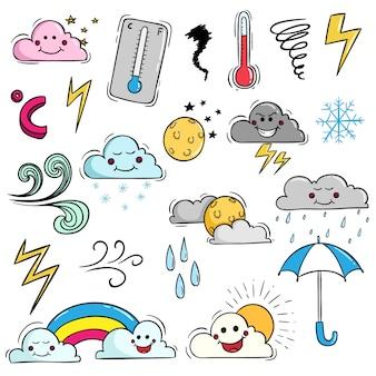 Набор погоды kawaii с симпатичным выражением с использованием цветного стиля doodle