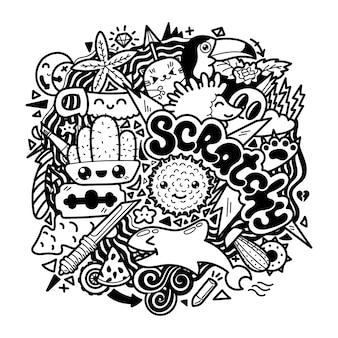 귀엽다 낙서 손으로 그린 색상, 귀여운 만화 캐릭터.