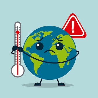 Kawaii earth planet sad with thermometer warning
