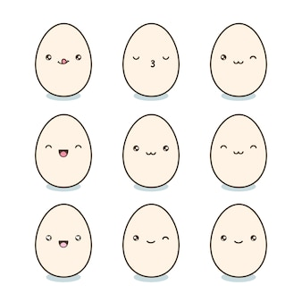Kawaii eggs with cute faces