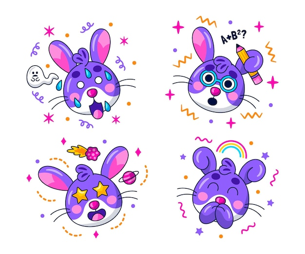 Collezione di adesivi di emoticon kawaii
