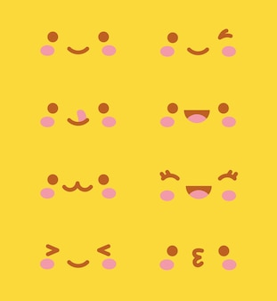 Kawaii faces over yellow background.  illustration
