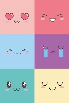 Kawaii facial adorable expression emoticon cartoon character set