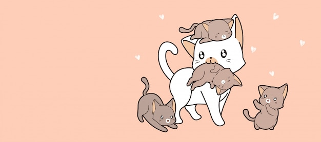 Kawaii family cat is loving