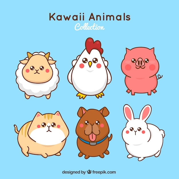 Image of: Cartoon Kawaii Farm Animals Set Just Colorings Kawaii Vectors Photos And Psd Files Free Download