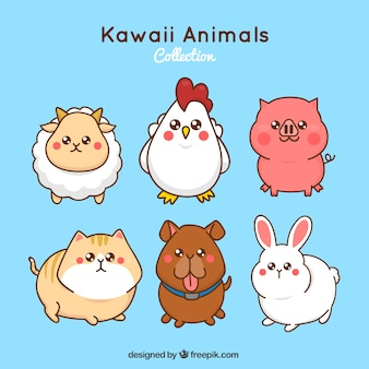Kawaii farm animals set