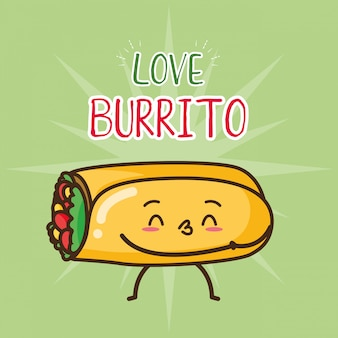 Kawaii fast food cute burrito illustration