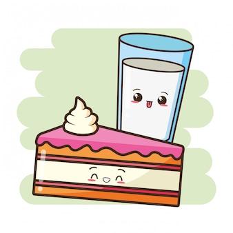 Kawaii fast food cute cake and cute milk illustration