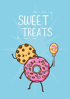 Kawaii fast food cute cookie and donut illustration