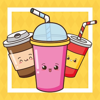 Kawaii fast food cute drinks illustration