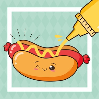 Kawaii fast food cute hot dog with mustard illustration
