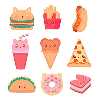 Kawaii fast food and ice cream set