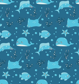 Kawaii fishes on deep sea water seamless pattern