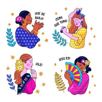 Наклейки на танец фламенко каваи