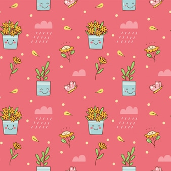 Kawaii flower seamless background
