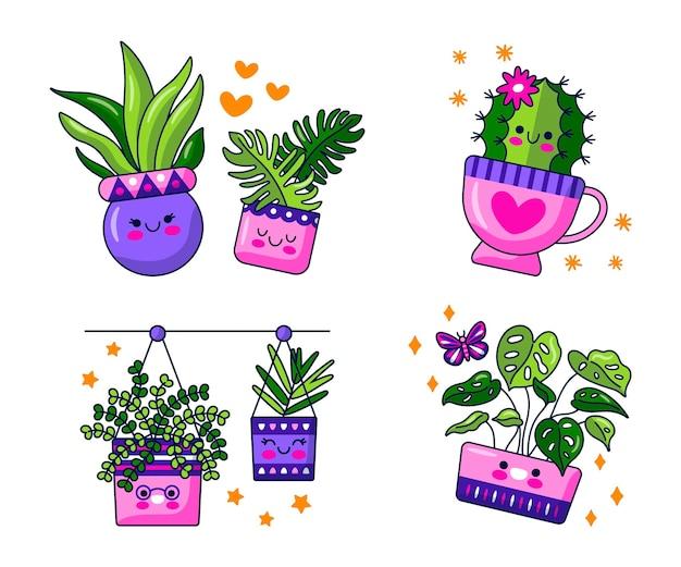Kawaii flowers and plants stickers