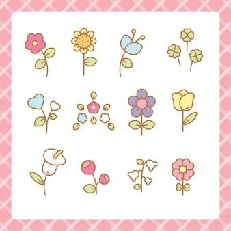 Kawaii flowers set