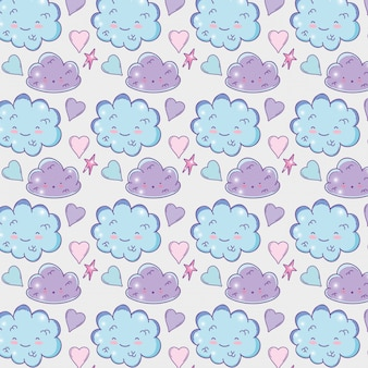 Kawaii fluffy clouds with stars and hearts background