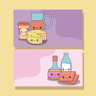 Kawaii food labels cards design