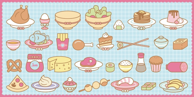 Kawaii food set