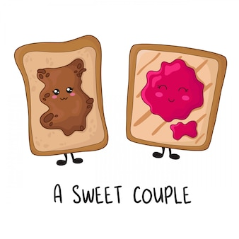Kawaii food - sweet toasts with peanut butter, jam