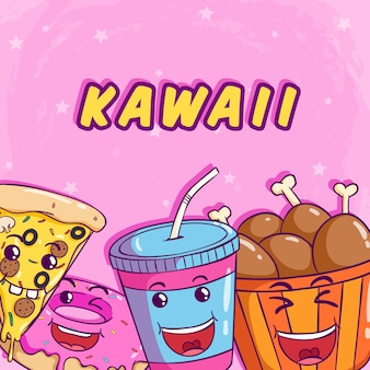 Kawaii food with pizza soda donut and chicken leg on cute pink