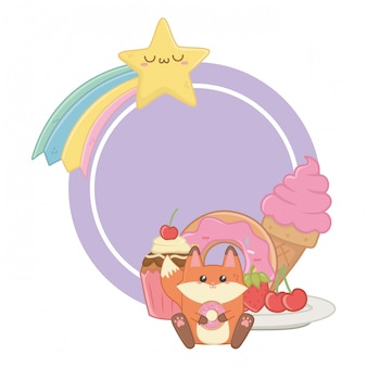 Kawaii of fox cartoon and desserts