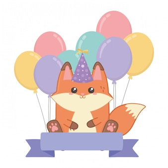 Kawaii fox and happy birthday