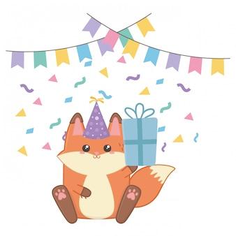 Kawaii fox and happy birthday