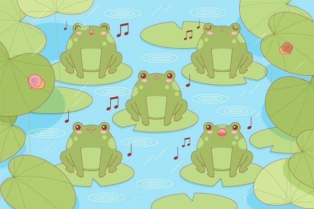 睡蓮に歌うかわいいカエル