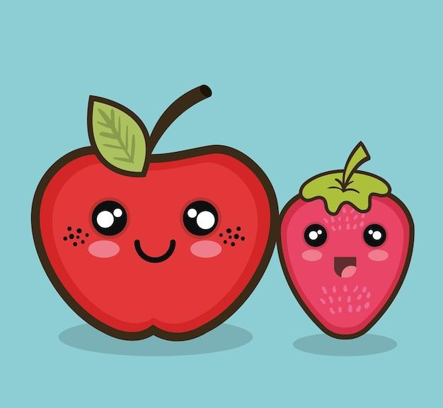 Kawaii fruit apple and strawberry