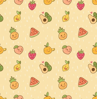 Kawaii fruit seamless background
