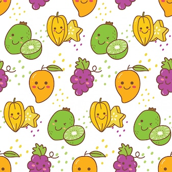 Kawaii fruit seamless pattern